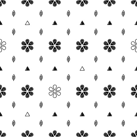 hand drawn flower: Floral scribble sketch seamless pattern background. Hand drawn vector illustration with flowers and leaves. Illustration