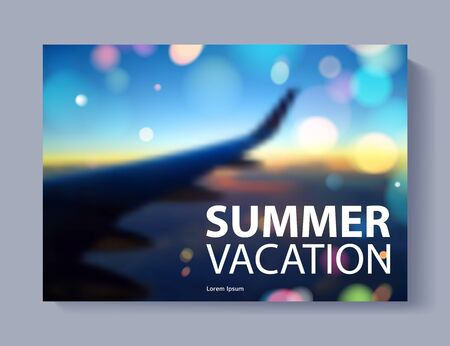 Cover design vector illustration - travel theme. Brochure, flayer, poster, booklet, magazine concept. Abstract view from the airplane window porthole - plane wing and sky down below with colorful lights. Summer vacation.