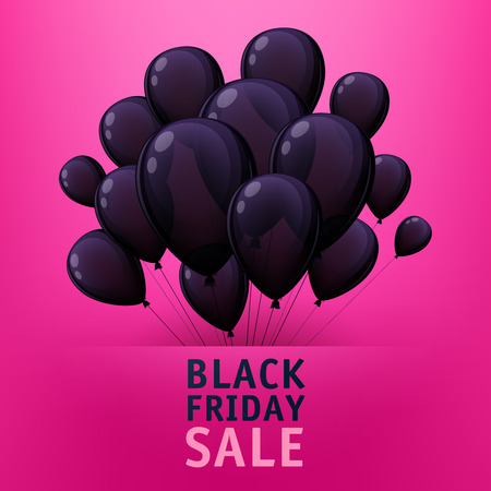 rosa negra: Black friday sale poster design with black balloons. Bright advertising promotion Vectores