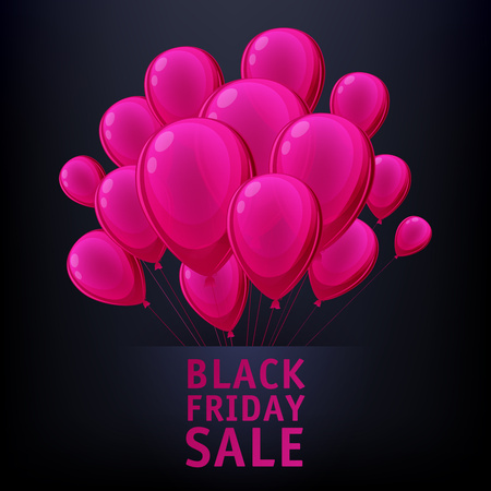 pink balloons: Black friday sale poster design with pink balloons. Bright advertising promotion vector illustration.