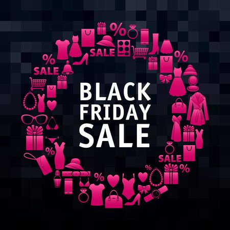 white dress: Black friday sale wreath of pink shopping icons. Clothes and accessorise sale.  Seasonal gifts. Black pixel background.