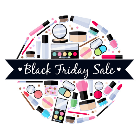 lip gloss: Black friday sale. Cosmetics make-up beauty accessories vector illustration. Lipstick eyeshadow lip gloss powder brush pencil design flat style. Round composition with ribbon.