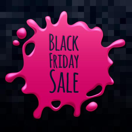 blotch: Abstract black friday sale pink splash on black background sticker label. Blotch form. Advertising promotion design vector illustration. Illustration