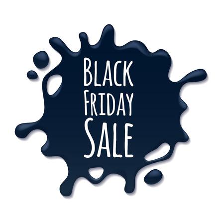 oil: Abstract black friday sale splash sticker label. Blotch form. Advertising promotion design vector illustration.