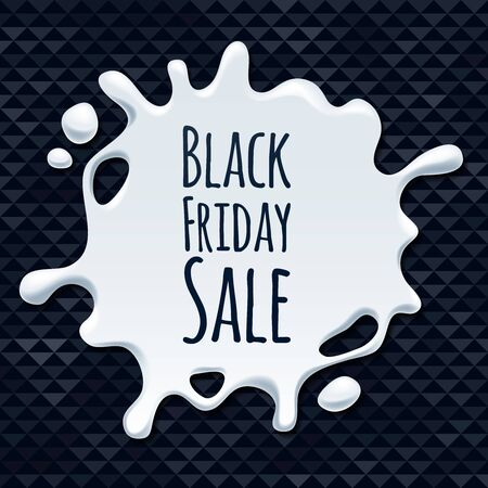 blotch: Abstract black friday sale white splash on black background sticker label. Blotch form. Advertising promotion design vector illustration.