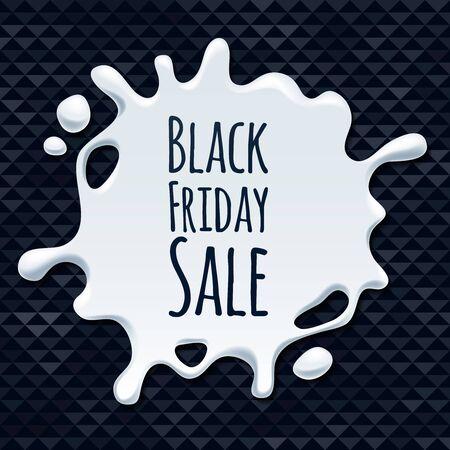 Abstract black friday sale white splash on black background sticker label. Blotch form. Advertising promotion design vector illustration.