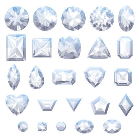 diamonds isolated: Set of realistic white jewels. Colorful gemstones. Diamonds isolated on white background. Illustration
