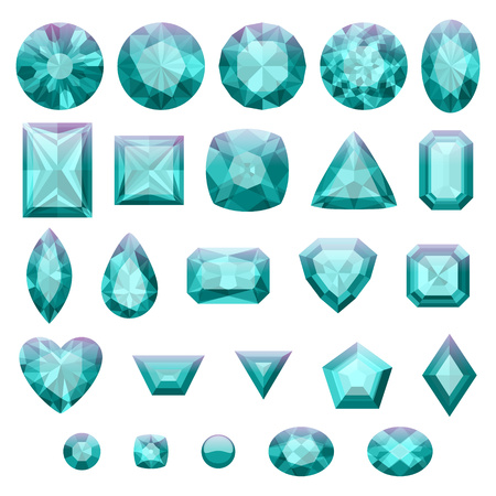 green gemstones: Set of realistic green jewels. Colorful gemstones. Emeralds isolated on white background.