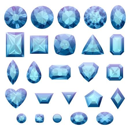 emerald gemstone: Set of realistic blue jewels. Colorful gemstones. Sapphires isolated on white background.