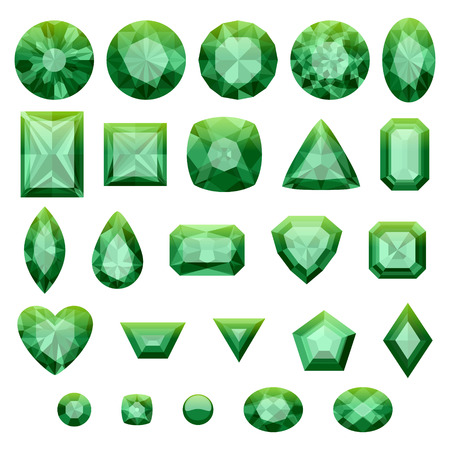 gemstones: Set of realistic green jewels. Colorful gemstones. Green emeralds isolated on white background.