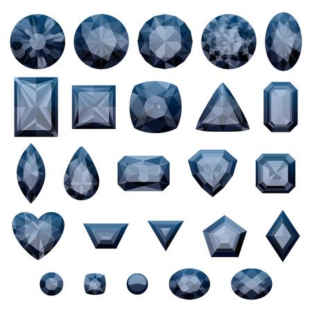 diamonds isolated: Set of realistic black jewels. Colorful gemstones. Black diamonds isolated on white background. Illustration