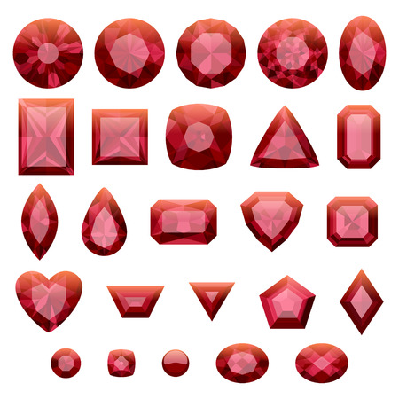 red stone: Set of realistic red jewels. Colorful gemstones. Rubies isolated on white background.
