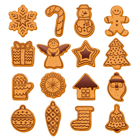 cute christmas: Colorful beautiful Christmas cookies with chocolate decoration icons set. Sweet decorated new year backings - gingerbread man star santa snowflake shristams tree ball sock ant other holiday symbols.