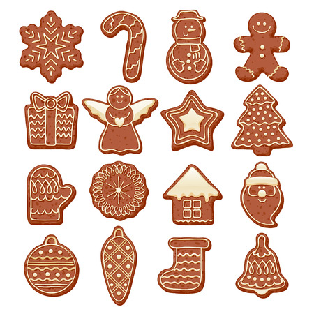 gingerbread cake: Colorful beautiful Christmas chocolate cookies icons set. Sweet decorated new year backings - gingerbread man star santa snowflake shristams tree ball sock ant other holiday symbols. Illustration