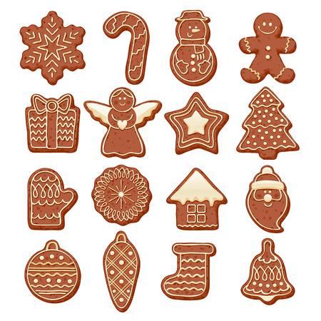 galleta de jengibre: hermoso determinado galletas de chocolate coloridos iconos de Navidad. decoradas nuevos soportes año dulce - estrella del hombre de pan de santa copo de nieve shristams bola del árbol de hormigas calcetín otros símbolos de vacaciones.