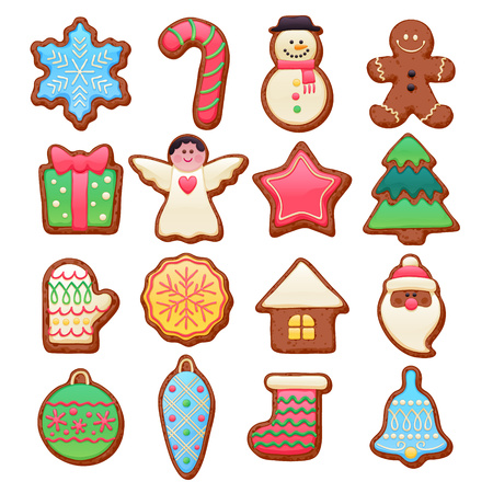 chocolate cookies: Colorful beautiful Christmas chocolate cookies icons set. Sweet decorated new year backings - gingerbread man star santa snowflake shristams tree ball sock ant other holiday symbols. Illustration