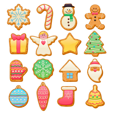 sweet: Colorful beautiful Christmas cookies icons set. Sweet decorated new year backings - gingerbread man star santa snowflake shristams tree ball sock ant other holiday symbols.