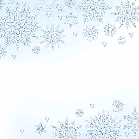 holiday gifts: Light christmas new year diamond crystal snowflakes background. Winter holiday design. Jewelry gifts advertising poster cover flyer background.