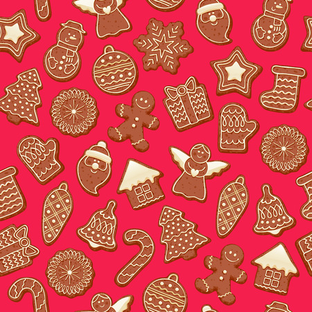 Colorful beautiful Christmas chocolate cookies icons seamless pattern. Sweet decorated new year backings background - gingerbread man star santa snowflake christmas tree ball sock.