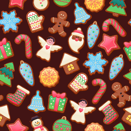 christmas candy: Colorful beautiful Christmas chocolate cookies icons seamless pattern. Sweet decorated new year backings background - gingerbread man star santa snowflake christmas tree ball sock.