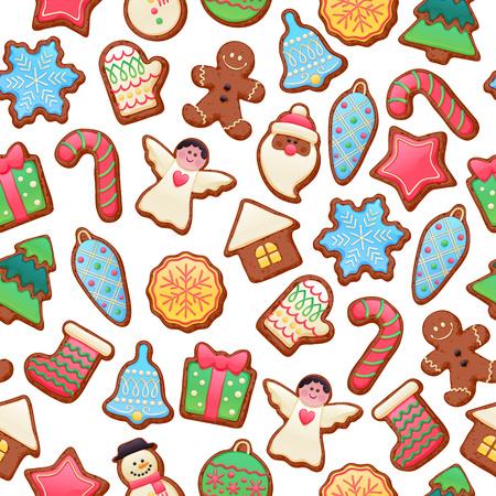 cioccolato natale: Colorful belle biscotti al cioccolato Natale icone seamless. Dolce decorato nuovo anno supporti di fondo - l'uomo di marzapane stella di santa fiocco di neve di Natale calzino sfera dell'albero. Vettoriali