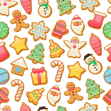 white socks: Colorful beautiful Christmas cookies icons seamless pattern. Sweet decorated new year backings background - gingerbread man star santa snowflake christmas tree ball sock. Illustration
