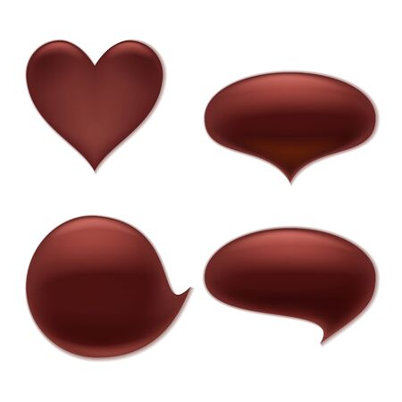 chocolate melt: Chocolate melt blot splash stain set.  Heart and round abstract curves forms. Vettoriali
