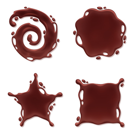 melting chocolate: Chocolate melt blot splash stain set. Spiral round and abstract curves forms.
