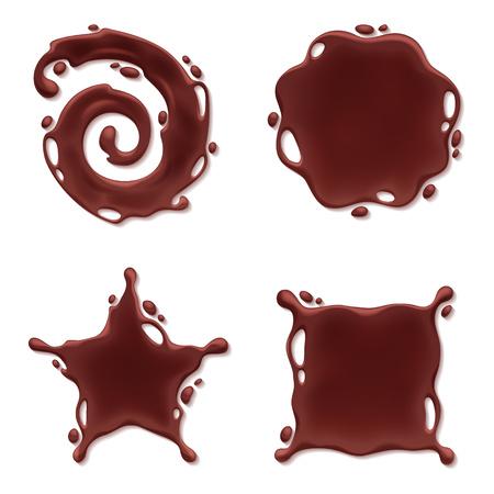chocolate melt: Cioccolato si fondono insieme macchia spruzzata. tondo a spirale e curve forme astratte. Vettoriali