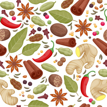 ginger root: Spices and herbs icons seamless pattern vector illustration. Anise cinnamon cloves ginger pepper cinnamon cardamom vanilla laurel cumin symbols background.