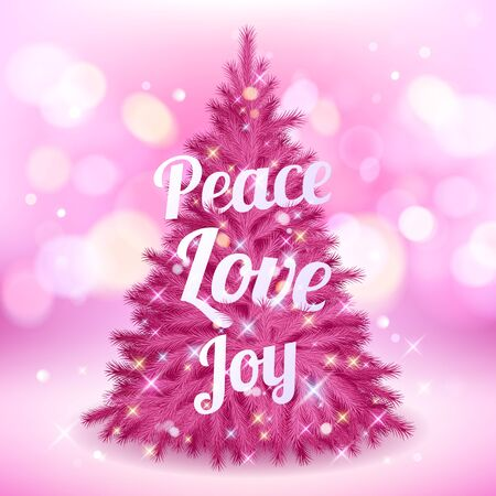 pink christmas: Beautiful pink shiny glowing christmas tree with greetings - peace, love, joy.