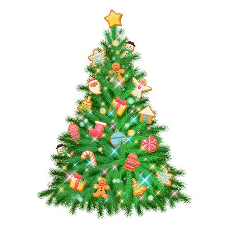 galletas de navidad: Hermoso árbol que brilla intensamente brillante colorido de Navidad con decoraciones. Ilustración de vacaciones vector de año nuevo. Galletas dulces - estrella del hombre de pan de santa copo de nieve del árbol de navidad bola calcetín.