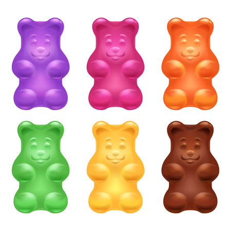 Set of colorful beautiful realistic jelly gummy bears. Sweet candy food. Blueberry orange lemon menthol chocolate flavors. Vector illustration. Иллюстрация