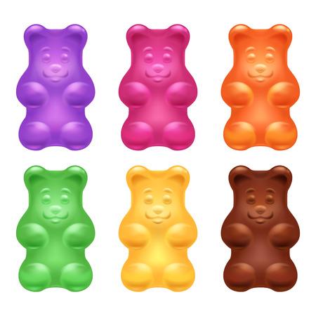 Zestaw kolorowych pięknych realistycznych galaretki niedźwiedzie gummy. Słodki cukierek żywności. Blueberry pomarańczowy cytryna mentol smaków czekolady. ilustracji wektorowych.