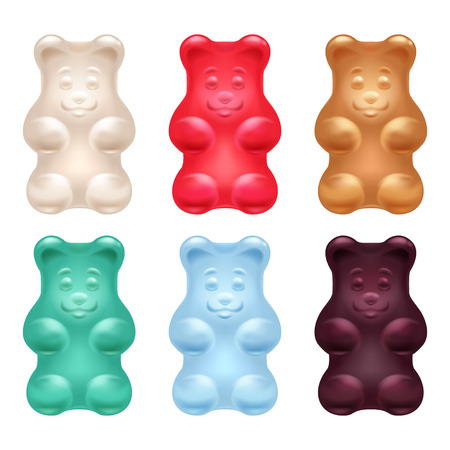 gummie: Set of colorful beautiful realistic jelly gummy bears. Sweet candy food. Strawberry vanilla caramel cola menthol flavors. Vector illustration.