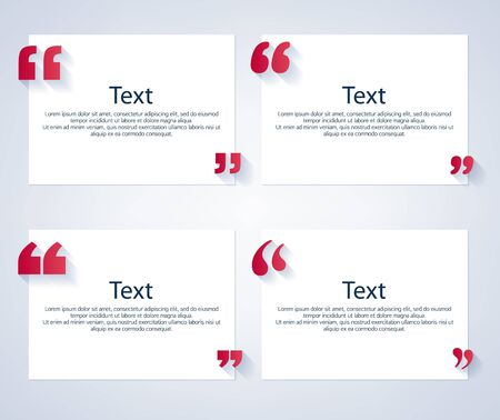 formatting: Quote boxes with marks set. Text formatting design templates. Vector illustration.