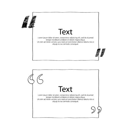 formatting: Quote boxes with marks set. Text formatting design templates. Vector illustration hand drawn scribble style.