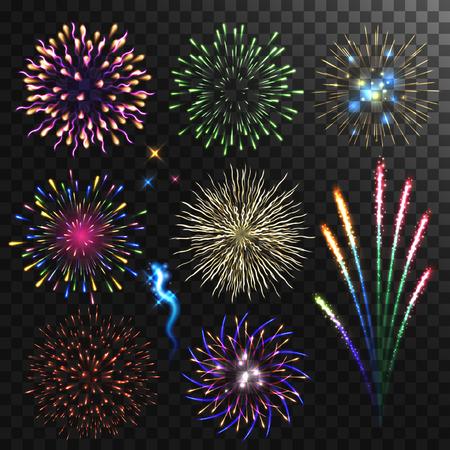 fireworks: Colorful shiny realistic fireworks set. Vector illustration. Celebration holiday design. Illustration
