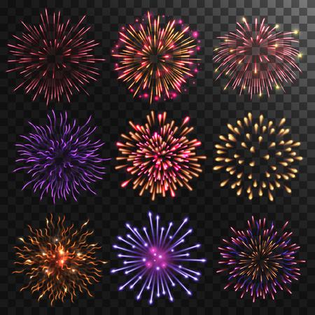 Colorful shiny realistic fireworks set. Vector illustration. Celebration holiday design.  イラスト・ベクター素材
