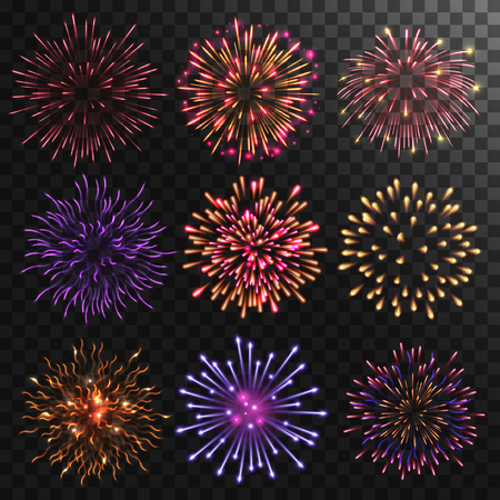 green background: Colorful shiny realistic fireworks set. Vector illustration. Celebration holiday design. Illustration
