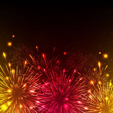 4th july: Colorful shiny realistic fireworks background. Vector illustration. Celebration holiday design.