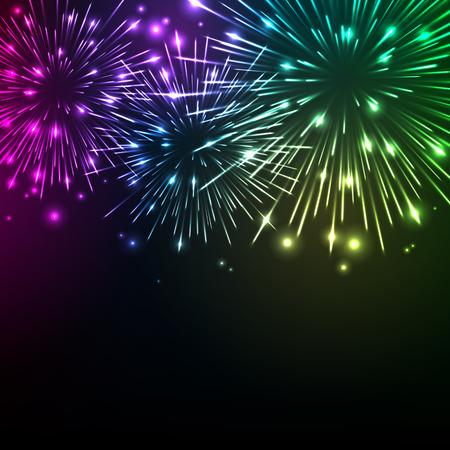 celebration background: Colorful shiny realistic fireworks background. Vector illustration. Celebration holiday design.