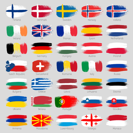 banderas del mundo: pinceladas de colores pintados europeos banderas de países iconos conjunto. pintado textura.
