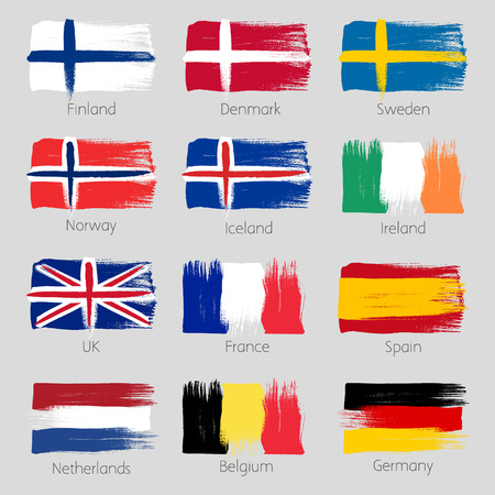 finland: Colorful brush strokes painted european countries flags icons set. Painted texture.