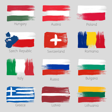 Colorful brush strokes painted european countries flags icons set. Painted texture.