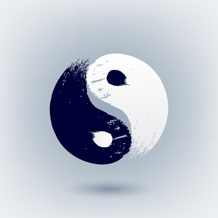 Yin Yang symbol painted with brush strokes vector illustration.