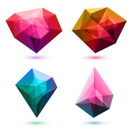edelstenen: Kleurrijke abstracte glas edelstenen kristallen te stellen.