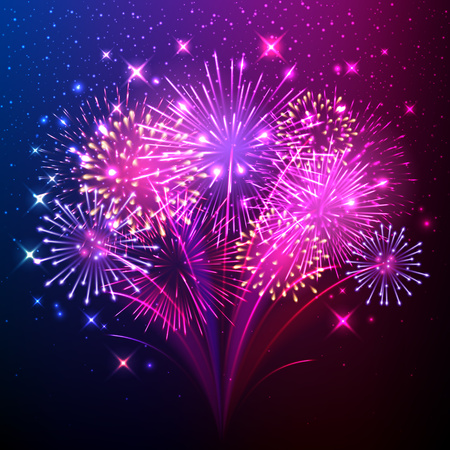 Colorful shiny realistic fireworks bunch background.