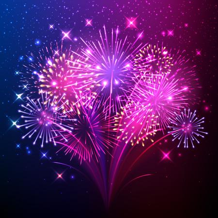 fireworks: Colorida y brillante de fuegos artificiales realistas mont�n de fondo.