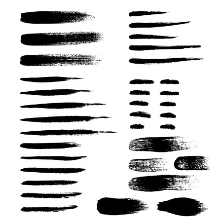 strokes: Brush strokes set hand drawn scribble abstract vector illustration.  Illustration